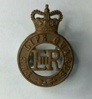 The life guards Officers gilt Cap Badge Queen Elizabeth Crown Genuine 1953-60