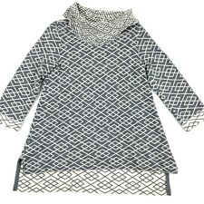 Anthropologie Moth Galena Pullover Cowl Neck Sweater Gray/Blue Geometric Size S