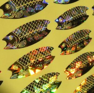 Holographic Fire Eye Minnow Replacement Decals Size 3.5-4.5 Lot of 120 Gold