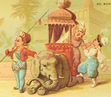 1870's India Scene Riding Baby Elephant Adorable Au Bon March Victorian Card F87