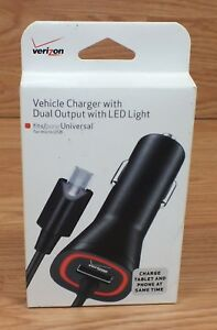 Verizon Vehicle Universal Micro USB Charger With Dual Output With LED Light *NEW