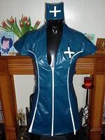 TURQUOISE & WHITE HEAVY TIGHT PVC NURSE DRESS MINI DRESS LARGE 12
