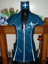 TURQUOISE & WHITE HEAVY TIGHT PVC NURSE DRESS MINI DRESS SMALL 8