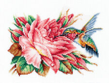 """Counted Cross Stitch Kit MAKE YOUR OWN HANDS H-43 - """"Hummingbird and rose"""""""