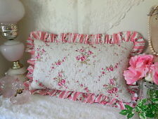 Romantic~ABBY PiNK ROSE* BREAKFAST Stripe Ruffled QUILT TOSS PILLOW NEW!