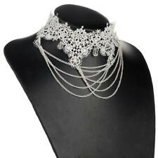 Fashion Ladies White Victorian Vintage Gothic Lace Beaded Necklace Collar Choker