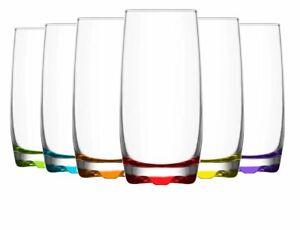 Lav Highball Tumbler Coloured Glasses Set. Pack of 6. Whiskey Juice Water Glass.