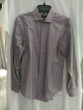 Calvin Klein Mens Slim Fit Purple Herringbone Dress Shirt Size 14.5 32/33  NWOT