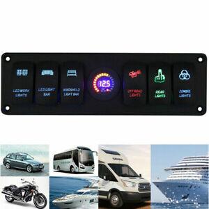 12V/24V Car Trucks Marine Boat 6 GANG Blue LED Light Rocker Switch Panel Breaker