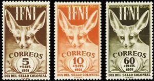 EBS 1951 Ifni Español - Día del Sello - Stamp Day - Fennec Fox - Edifil 76-78