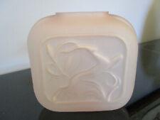 Vintage Art Deco Design Pink Satin Molded Glass Gazelle Pillow Vase!