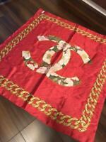 Authentic CHANEL CC Logo Coco Mark Camellia Scarf Large Format Red Women's m284