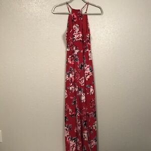 Candie's Red Floral Sleeveless Front Slits Maxi Dress S