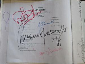 SET 587-9 Bellini I Puritani SIGNED by Pavarotti Sutherland Ghiaurov Bonynge