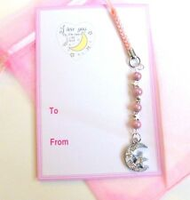 """""""I Love you to the Moon and Back"""" Moon Pink beads Mobile Phone Charm & Gift Tag"""