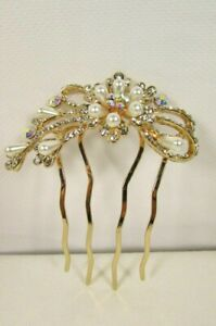 Women Hair Pin Head Fashion Gold Metal Jewelry Silver Flower Wedding Bling Cute