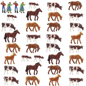 Model Railway 36PCS 1:87 Well Painted Farm Animals HO Scale Cows Horses Shepherd