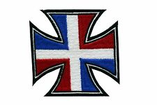 DOMINICAN FLAG MOTORCYCLE CHOPPERS IRON CROSS MC EMBROIDERED PATCH