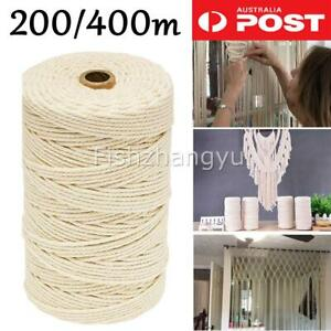 NEW 3mm Macrame Rope Natural Beige Cotton Twisted Cord Artisan Hand Craft DIY