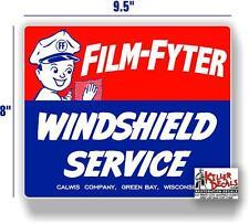 "(FILM-STA-1) 9.5"" FILM FYTER MAN WINDSHIELD SERVICE BOX DECAL STATION GASOLINE"