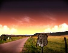 METAL MAGNET Route 66 At Sunset Old Car Travel USA MAGNET