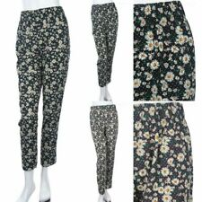 Women's Floral Casual Harem Pants Stretch Waistband Ankle Length Comfy S M L