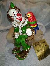 SIGNED Vintage RON LEE  Clown-Figurine The-Parrot  24 Kt Gold.