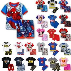Kinder Jungen Gedruckt Kurzarm Tops + Shorts Nachtwäsche Schlafanzug Outfits Set