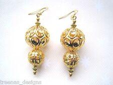 ALL GOLD SWIRL FILIGREE XMAS GOLDEN BAUBLE GP Bead Drop Earrings Gift Bag