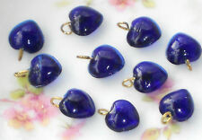 Vintage Glass Hearts Dangles Charms Heart Drops cobalt Blue Puff NOS Rare #691