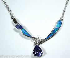 """2.5 Cts Tanzanite, Blue Fire Opal Inlay Solid 925 Sterling Silver Necklace 18.5"""""""