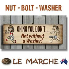 """🔩 FUNNY NUT BOLT """"Oh No You Don't"""" Wooden Rustic Plaque / Sign (FREE POST) 🔩"""
