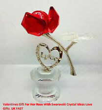 Valentines Gift For Her Rose With Swarovski Crystal Ideas Love Gifts NEW_UK FAST