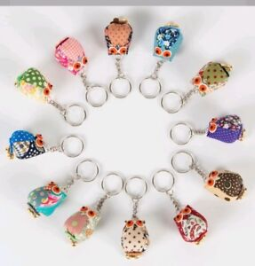 SASS AND BELLE VINTAGE MINI OWL BIRD KEYRING WITH BELL ASSORTED COLOUR GIFT