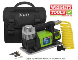 Sealey MAC04D Digital Tyre Inflator Mini Air Compressor 12V Air Delivery 25L/Min
