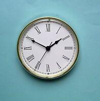 160mm GOLD BEZEL QUARTZ CLOCK  insert movement white roman dial