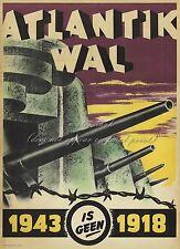 Vintage German WW2 Canvas or Poster Print ATLANTIC WALL ATLANTIKWALL