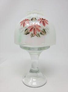 Fenton Poinsettia Fairy Lamp Signed