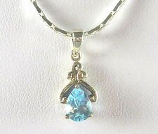 0.86ct Natural Blue Topaz Solitaire Solid 925 Sterling Silver Pendant & Chain