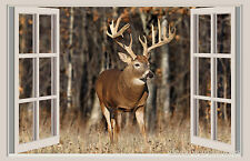 Deer & Forest Window View Repositionable Color Wall Sticker Wall Mural 3 FT