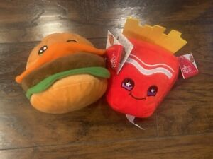 Lot of 2 Russ Snackeez Bradley Burger & Frank Fries plush New with tags
