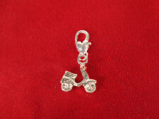 """5pc clip-on """"motorbike"""" charms in antique silver style (BC241)"""