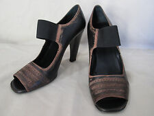 Genuine women Prada perforated leather open toe shoes 40 9 in brown