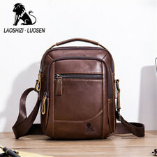 Men's Business Genuine Leather Cowhide Vintage Crossbody Shoulder Messenger