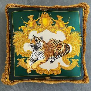 """GIANNI VERSACE pillow silk fringed Tiger and Baroque 17"""" fw 1995/96 green gold"""