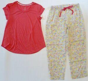 NWT Gilligan & O'Malley PJ Pajama Set XS Coral SS Top+Almond Cream Tencel Pants