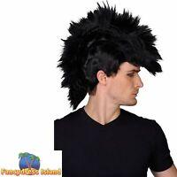80's Punk Rocker Mohican Wig Mohawk Rock Emo Mens Fancy Dress Costume Accessory