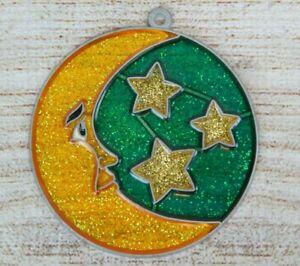 Vintage Suncatcher Man in Moon & Stars Round Window Decoration Ornament