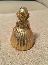 Vintage gold brass double sided Lady Woman Hand Bell