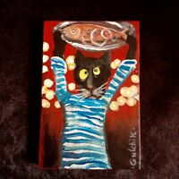 Black Cat and Fish Original Miniature acrylic painting 4 x 6 ins.
